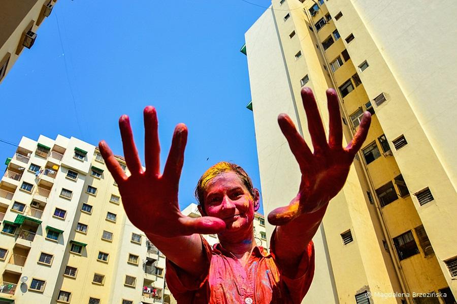 Tak się bawi, tak się bawi Brzezińska :D Holi, 6 marca 2015 r., Ahmedabad, Indie © Magdalena Brzezińska