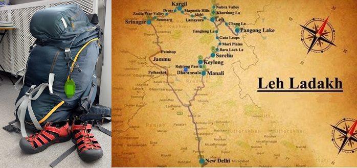 W dużym zarysie planowana trasa podróży, Indie, lipiec 2016