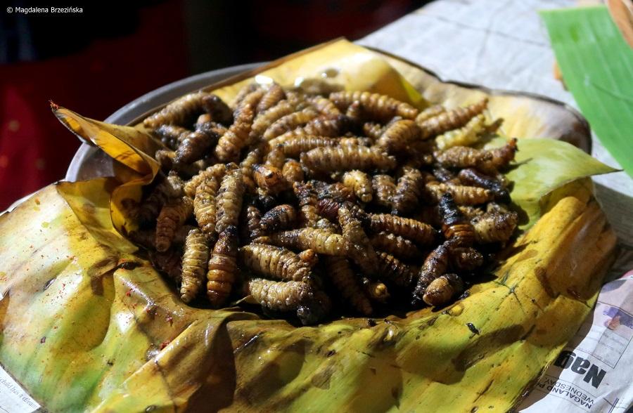 fot. Grillowane larwy jedwabnik © Magdalena Brzezińska, Nagaland, Indie, 2019
